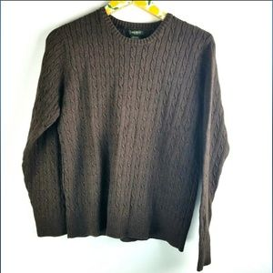 Eddie Bauer Brown Cable Knit Sweater Sz L